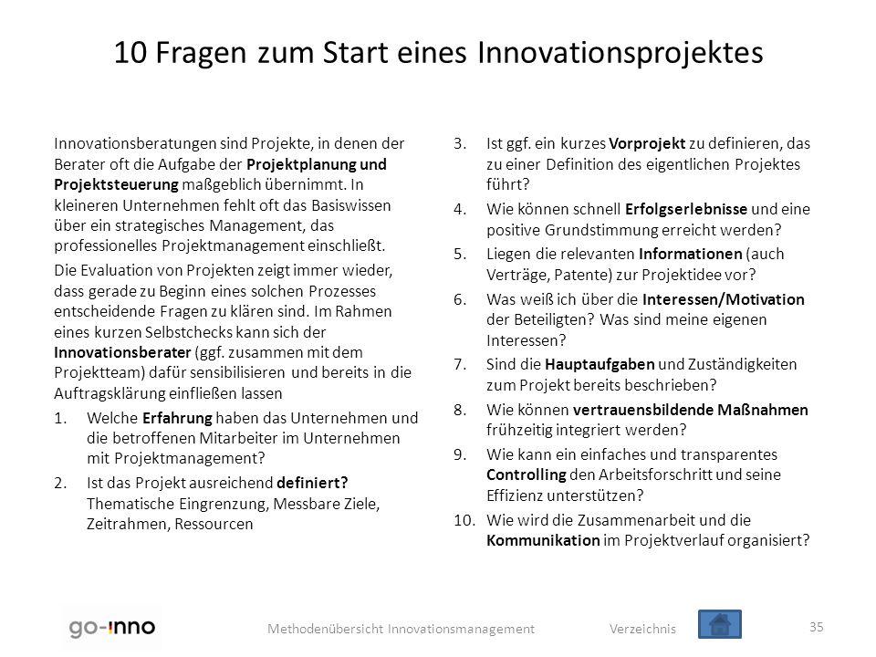 Methodenübersicht Innovationsmanagement Verzeichnis 10 Fragen zum Start eines Innovationsprojektes Innovationsberatungen sind Projekte, in denen der B