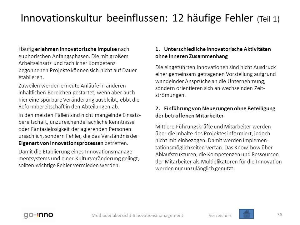 Methodenübersicht Innovationsmanagement Verzeichnis Innovationskultur beeinflussen: 12 häufige Fehler (Teil 1) Häufig erlahmen innovatorische Impulse