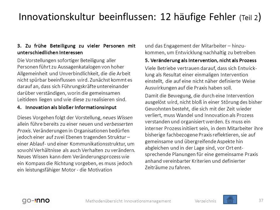 Methodenübersicht Innovationsmanagement Verzeichnis Innovationskultur beeinflussen: 12 häufige Fehler (Teil 2 ) 3.Zu frühe Beteiligung zu vieler Perso