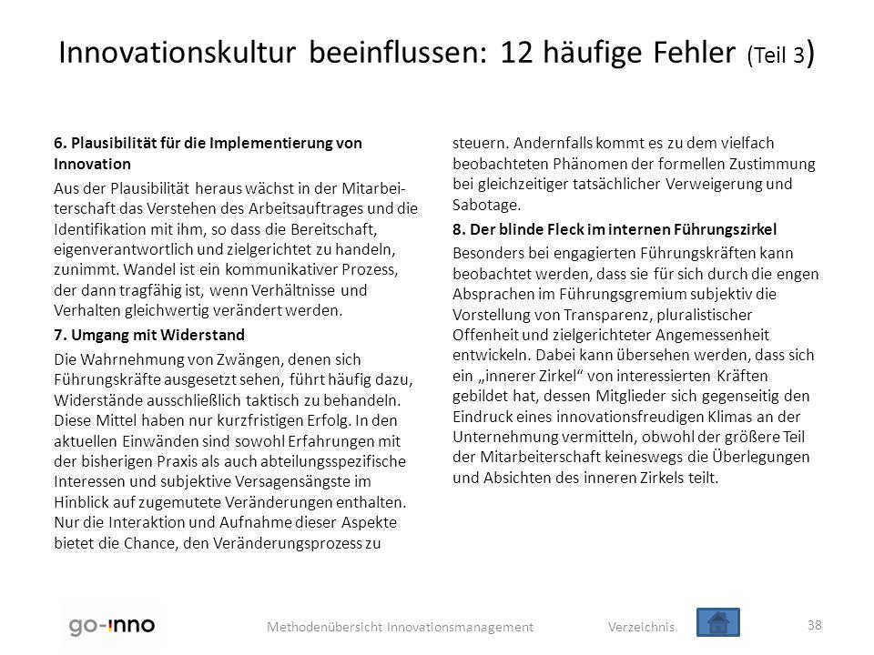 Methodenübersicht Innovationsmanagement Verzeichnis Innovationskultur beeinflussen: 12 häufige Fehler (Teil 3 ) 6. Plausibilität für die Implementieru