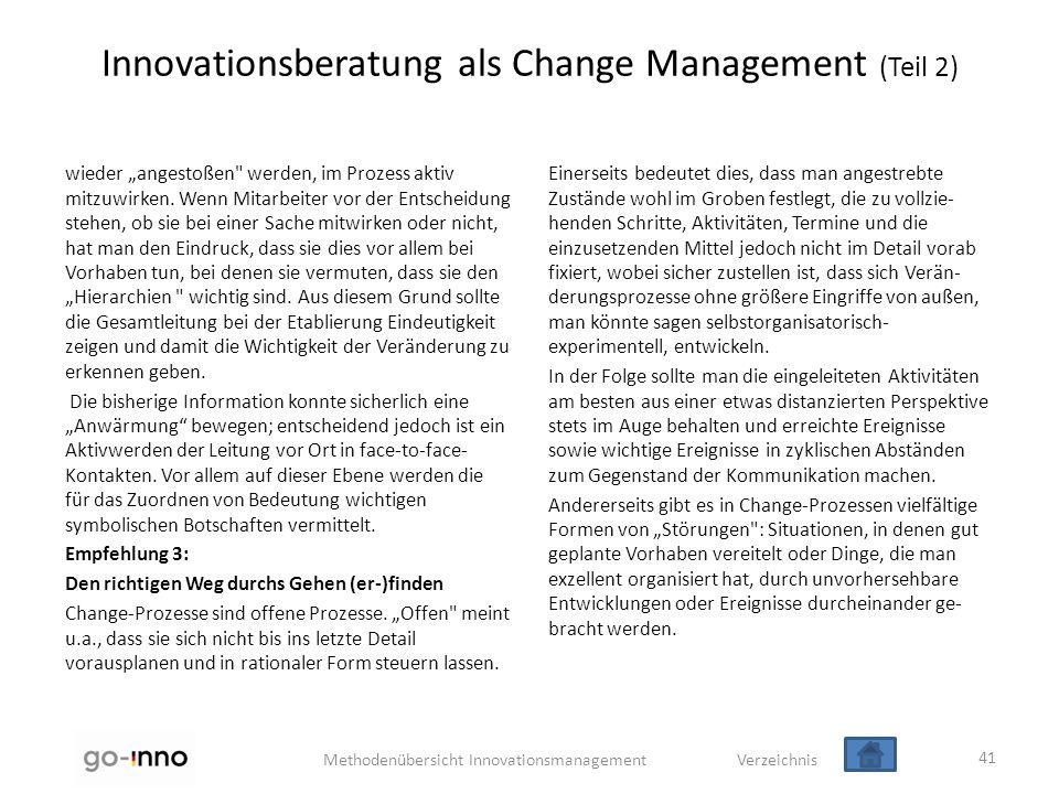"""Methodenübersicht Innovationsmanagement Verzeichnis Innovationsberatung als Change Management (Teil 2) wieder """"angestoßen"""