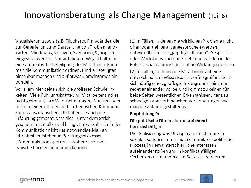 Methodenübersicht Innovationsmanagement Verzeichnis Innovationsberatung als Change Management (Teil 6) Visualisierungstools (z.B. Flipcharts, Pinnwänd