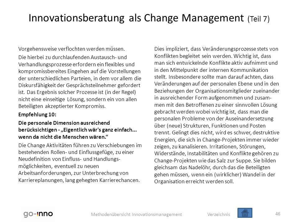 Methodenübersicht Innovationsmanagement Verzeichnis Innovationsberatung als Change Management (Teil 7) Vorgehensweise verflochten werden müssen. Die h