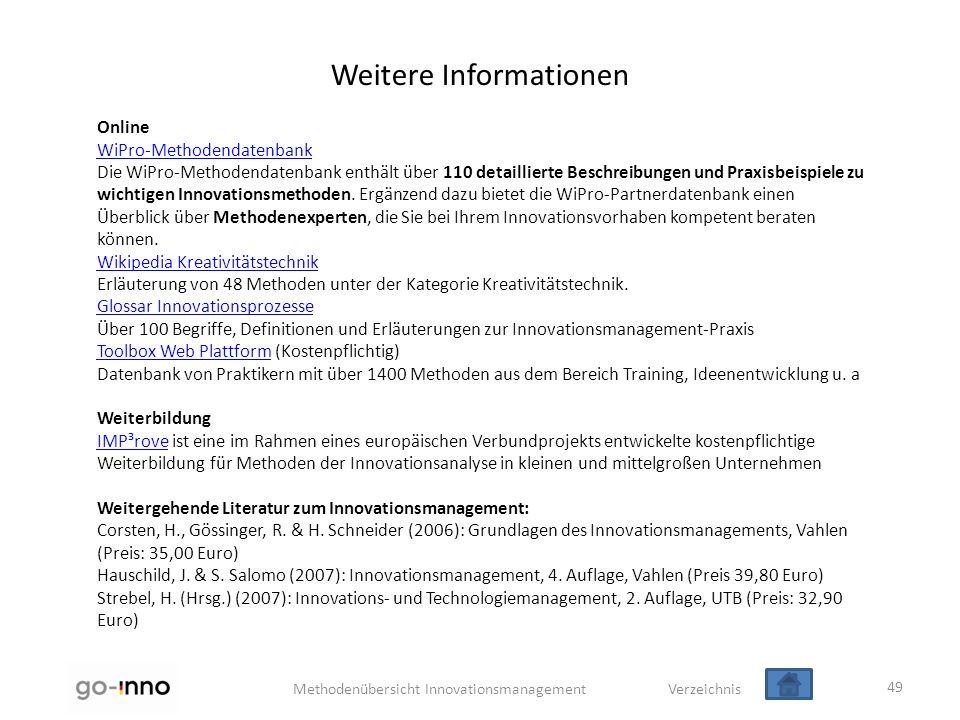 Methodenübersicht Innovationsmanagement Verzeichnis Weitere Informationen Online WiPro-Methodendatenbank Die WiPro-Methodendatenbank enthält über 110