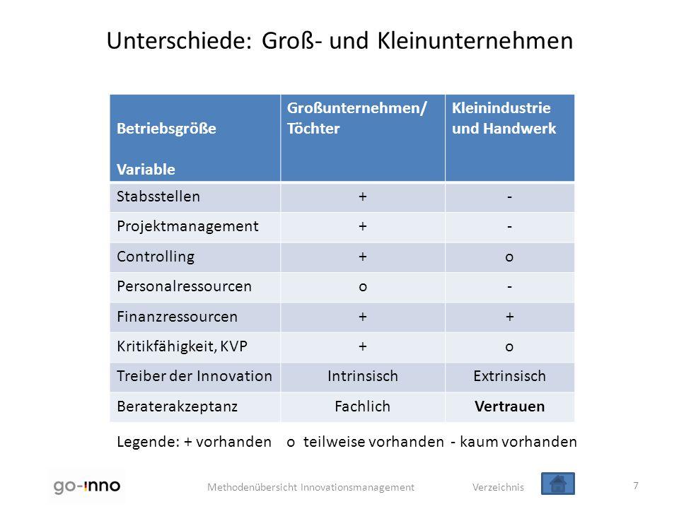 Methodenübersicht Innovationsmanagement Verzeichnis Unterschiede: Groß- und Kleinunternehmen 7 Betriebsgröße Variable Großunternehmen/ Töchter Kleinin