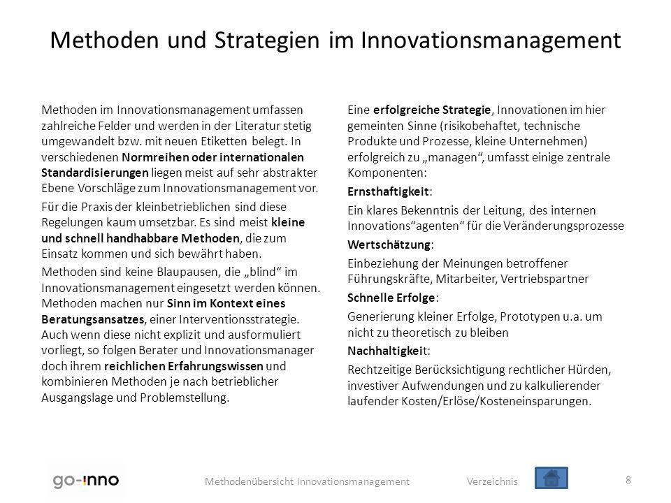 Methodenübersicht Innovationsmanagement Verzeichnis Methoden und Strategien im Innovationsmanagement Methoden im Innovationsmanagement umfassen zahlre