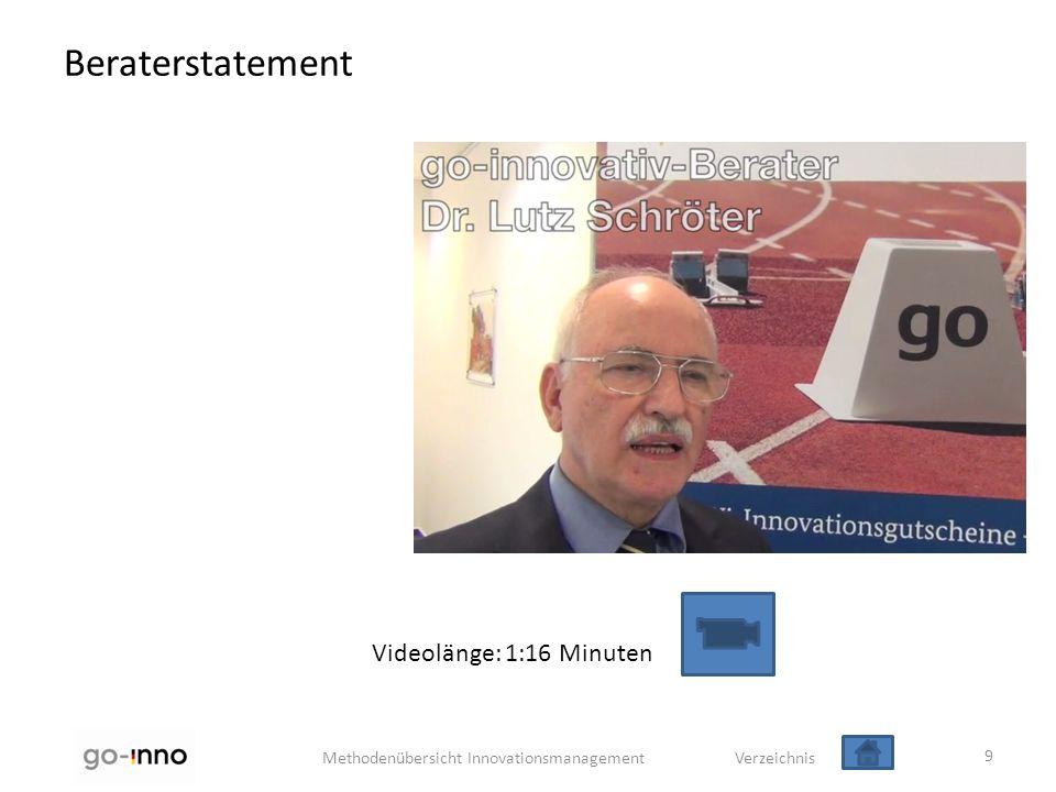 Methodenübersicht Innovationsmanagement Verzeichnis Beraterstatement 9 Videolänge: 1:16 Minuten