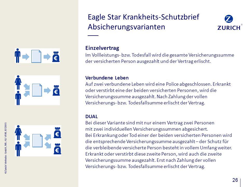 26 Eagle Star Krankheits-Schutzbrief Absicherungsvarianten Einzelvertrag Im Vollleistungs- bzw. Todesfall wird die gesamte Versicherungssumme der vers