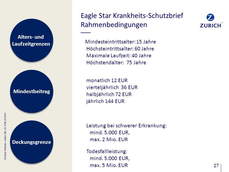 27 Eagle Star Krankheits-Schutzbrief Rahmenbedingungen Mindesteintrittsalter: 15 Jahre Höchsteintrittsalter: 60 Jahre Maximale Laufzeit: 40 Jahre Höch