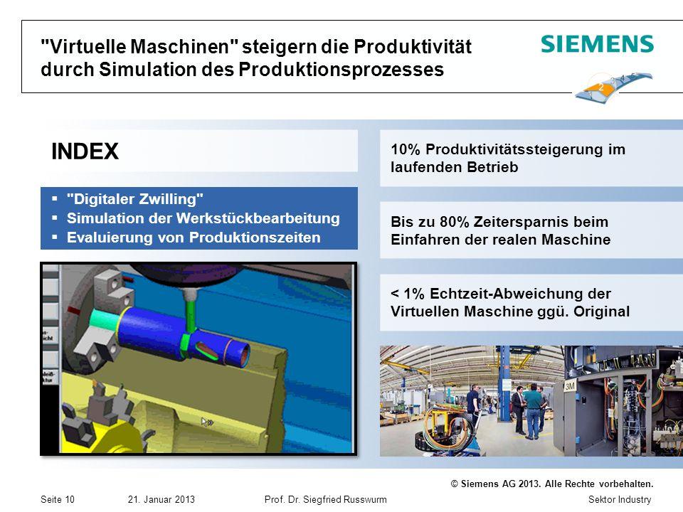 Sektor Industry © Siemens AG 2013. Alle Rechte vorbehalten. 21. Januar 2013Prof. Dr. Siegfried Russwurm Seite 10