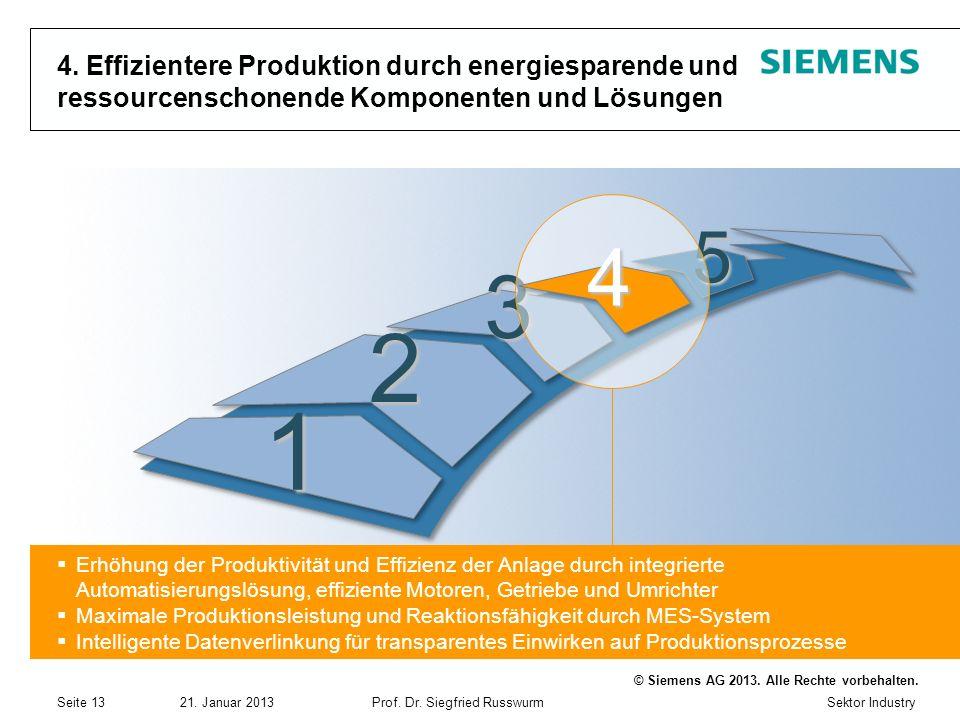 Sektor Industry © Siemens AG 2013. Alle Rechte vorbehalten. 21. Januar 2013Prof. Dr. Siegfried Russwurm Seite 13 1 2 3 5 4. Effizientere Produktion du