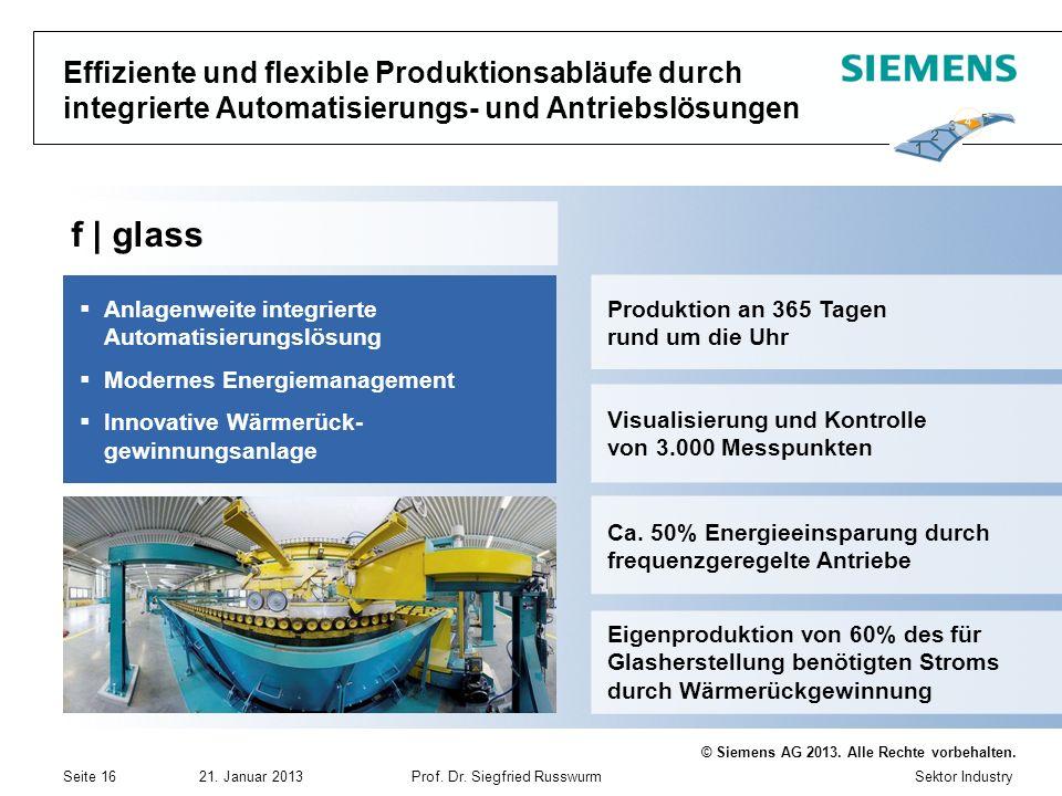 Sektor Industry © Siemens AG 2013. Alle Rechte vorbehalten. 21. Januar 2013Prof. Dr. Siegfried Russwurm Seite 16 Effiziente und flexible Produktionsab