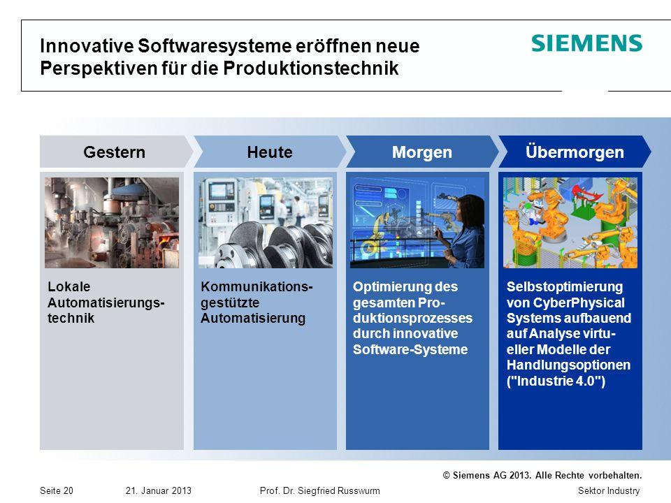 Sektor Industry © Siemens AG 2013. Alle Rechte vorbehalten. 21. Januar 2013Prof. Dr. Siegfried Russwurm Seite 20 Innovative Softwaresysteme eröffnen n