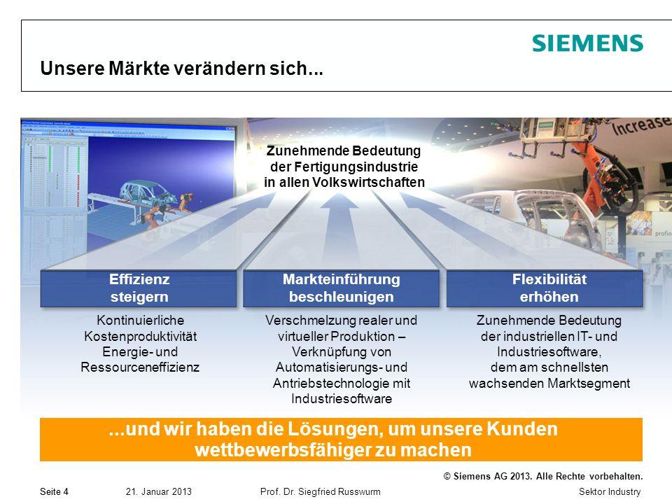 Sektor Industry © Siemens AG 2013. Alle Rechte vorbehalten. 21. Januar 2013Prof. Dr. Siegfried Russwurm Seite 4 Unsere Märkte verändern sich......und