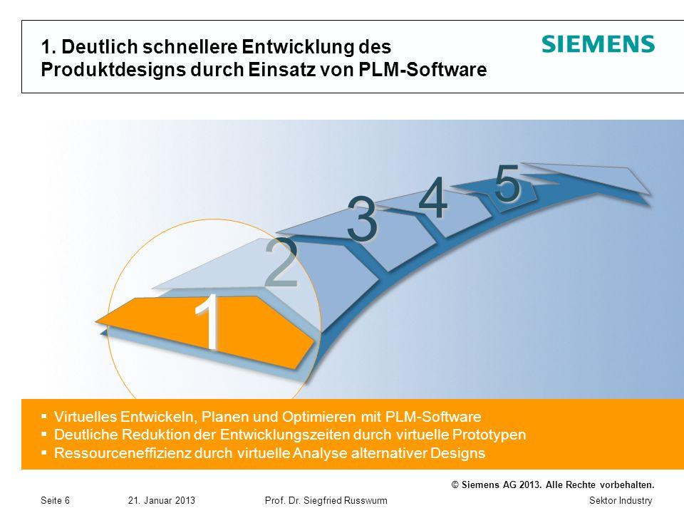 Sektor Industry © Siemens AG 2013. Alle Rechte vorbehalten. 21. Januar 2013Prof. Dr. Siegfried Russwurm Seite 6 1. Deutlich schnellere Entwicklung des