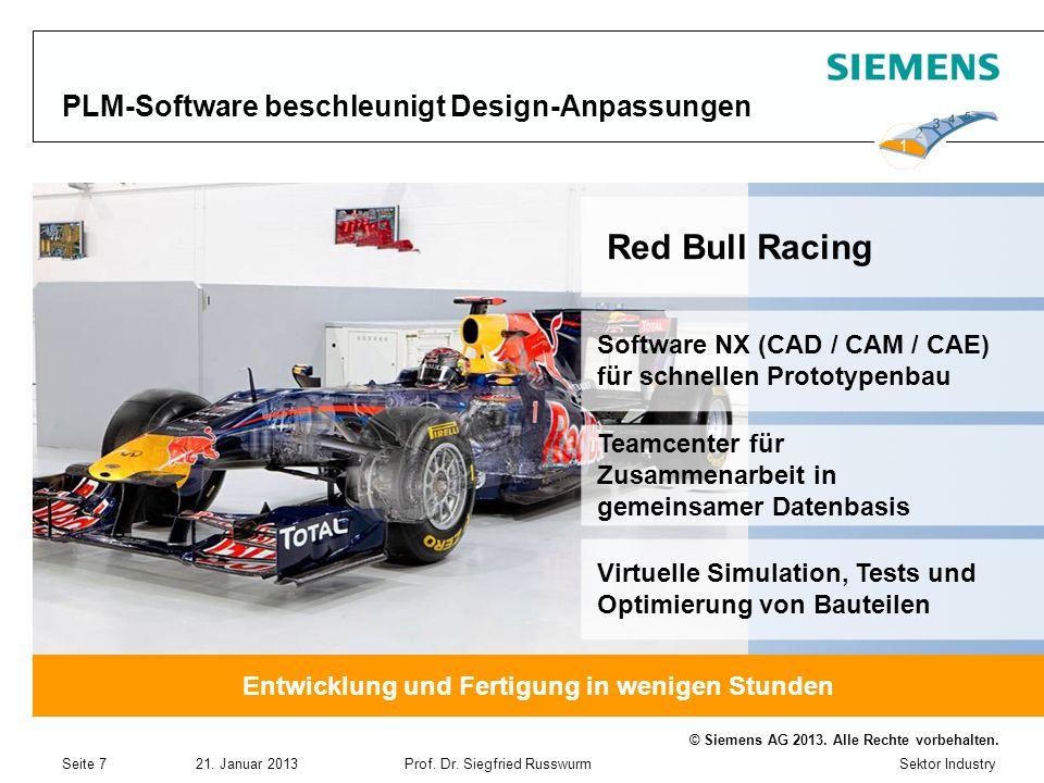 Sektor Industry © Siemens AG 2013. Alle Rechte vorbehalten. 21. Januar 2013Prof. Dr. Siegfried Russwurm Seite 7 PLM-Software beschleunigt Design-Anpas
