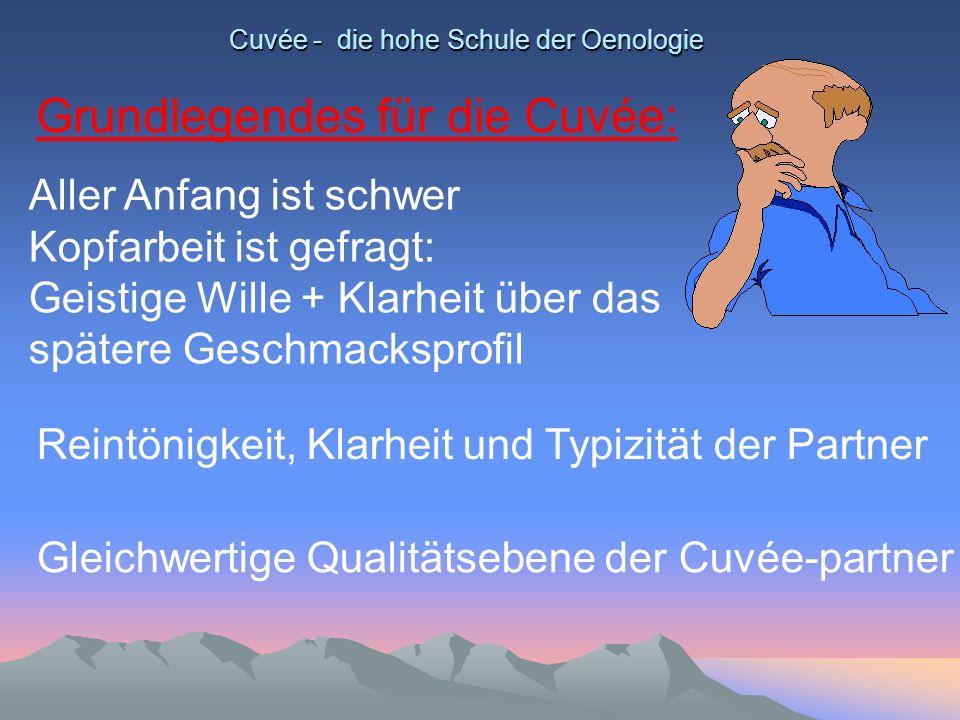 Cuvée - die hohe Schule der Oenologie Grundlegendes für die Cuvée: Aller Anfang ist schwer Kopfarbeit ist gefragt: Geistige Wille + Klarheit über das