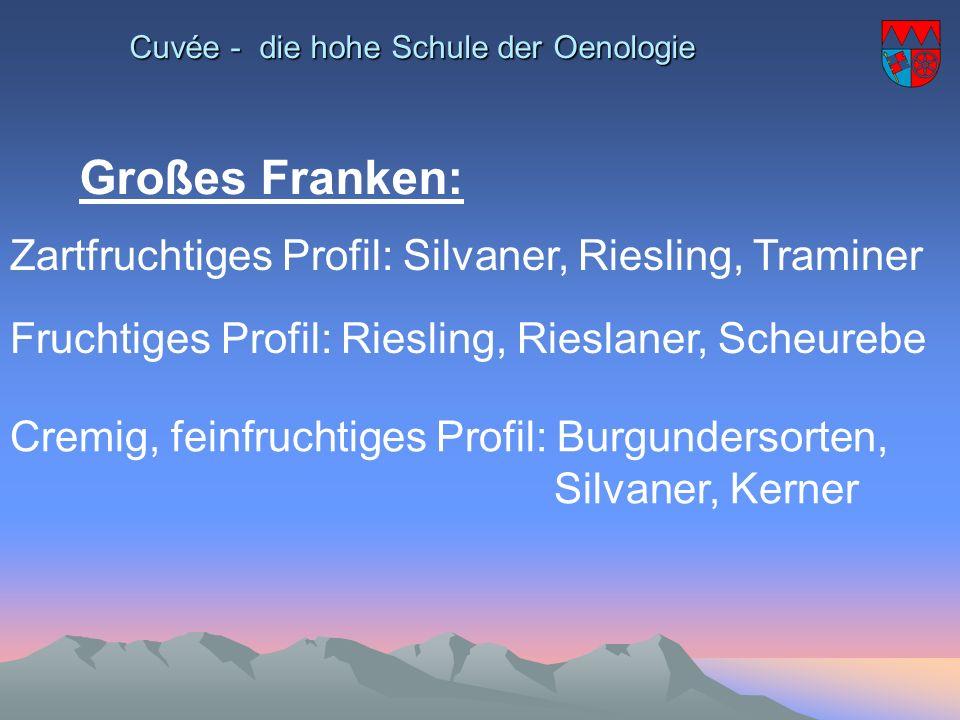 Cuvée - die hohe Schule der Oenologie Großes Franken: Zartfruchtiges Profil: Silvaner, Riesling, Traminer Fruchtiges Profil: Riesling, Rieslaner, Sche