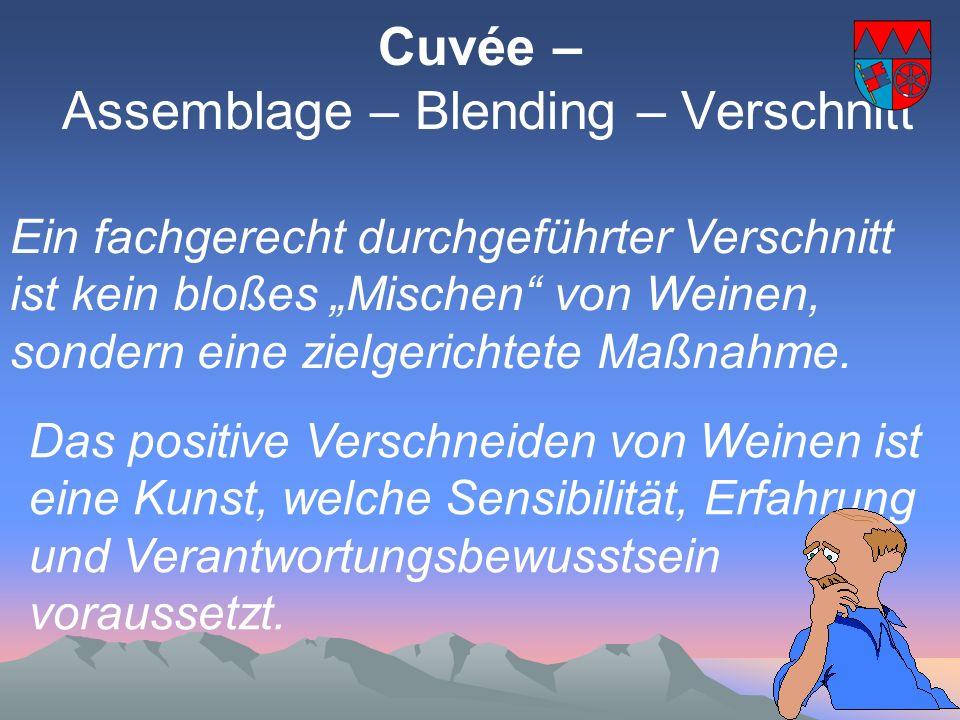 Cuvée - die hohe Schule der Oenologie Für die Cuvéetierung, für die Ermittlung der Eigenschaften der Weine ist die Sensorik allein entscheidend.