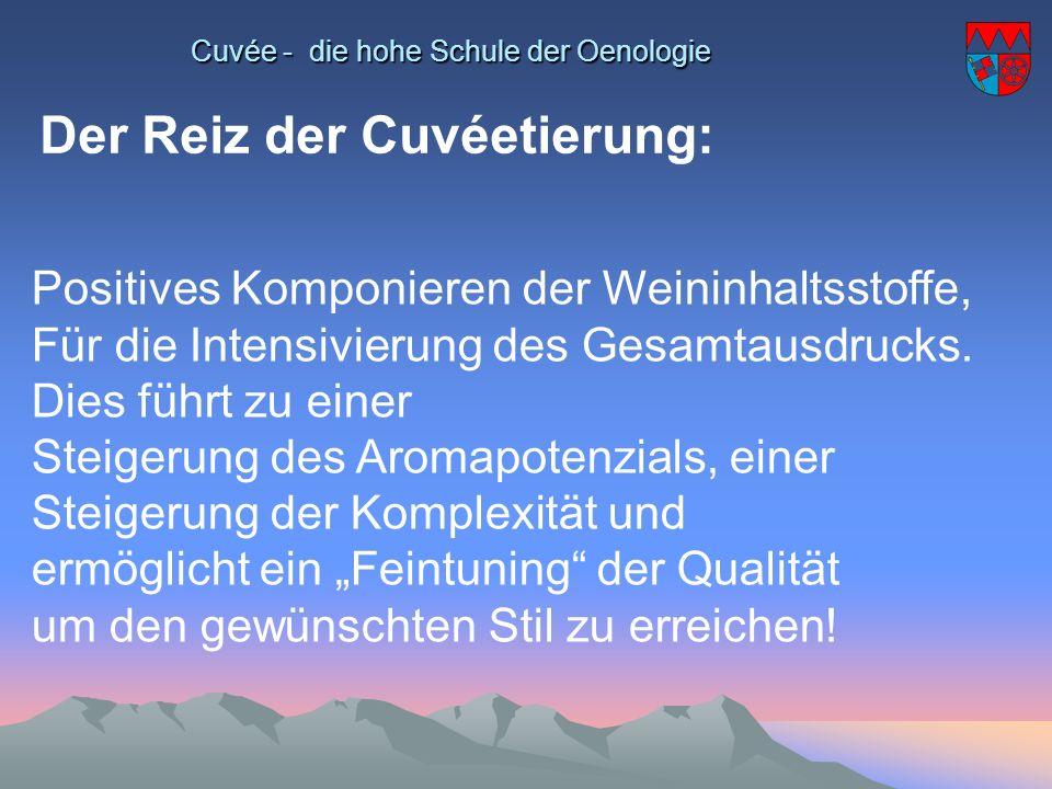 Cuvée - die hohe Schule der Oenologie Der Reiz der Cuvéetierung: Positives Komponieren der Weininhaltsstoffe, Für die Intensivierung des Gesamtausdruc