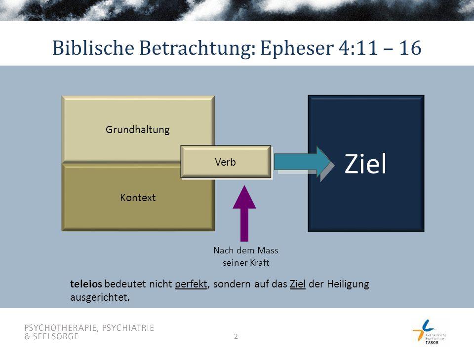 2 Grundhaltung Kontext Verb Nach dem Mass seiner Kraft Ziel Biblische Betrachtung: Epheser 4:11 – 16 teleios bedeutet nicht perfekt, sondern auf das Z