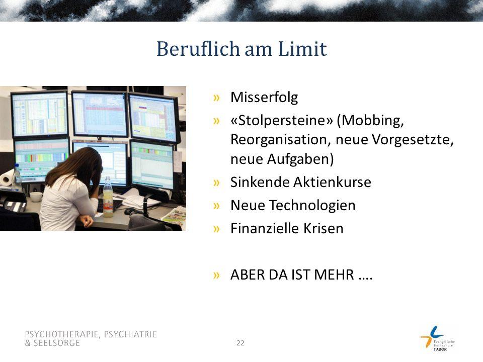 22 Beruflich am Limit »Misserfolg »«Stolpersteine» (Mobbing, Reorganisation, neue Vorgesetzte, neue Aufgaben) »Sinkende Aktienkurse »Neue Technologien