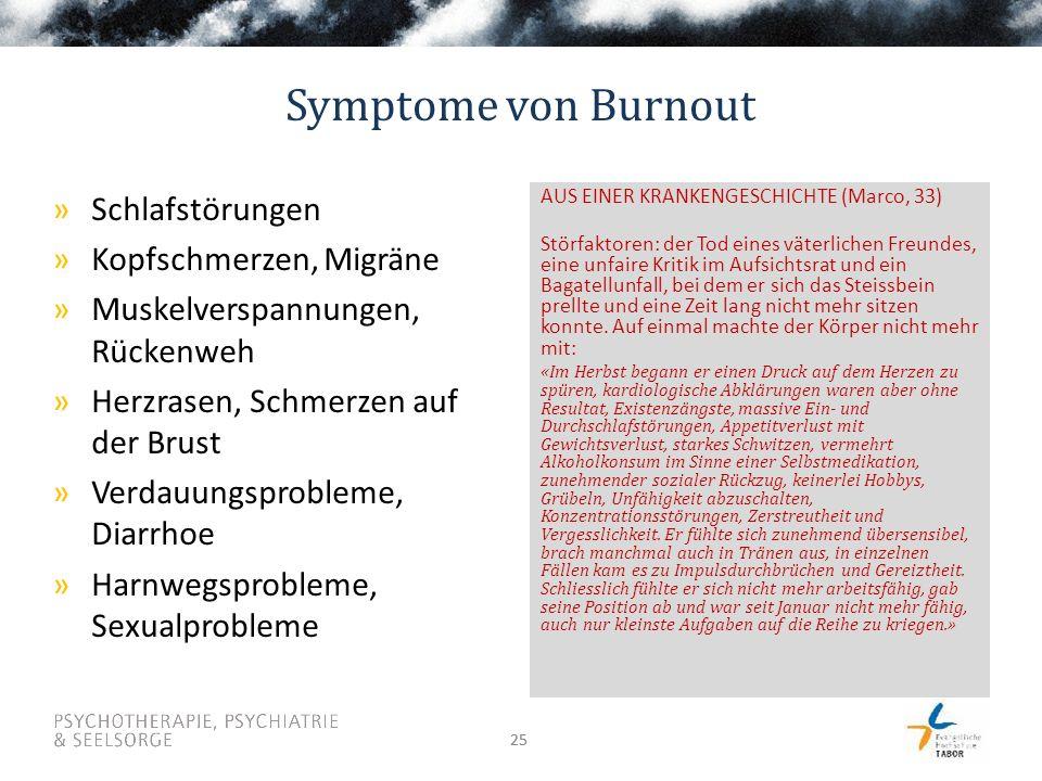 25 Symptome von Burnout AUS EINER KRANKENGESCHICHTE (Marco, 33) Störfaktoren: der Tod eines väterlichen Freundes, eine unfaire Kritik im Aufsichtsrat