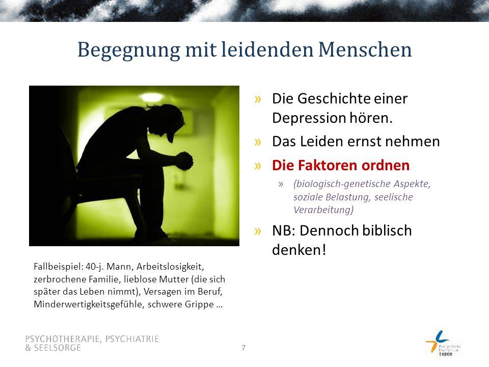 77 Begegnung mit leidenden Menschen »Die Geschichte einer Depression hören. »Das Leiden ernst nehmen »Die Faktoren ordnen »(biologisch-genetische Aspe