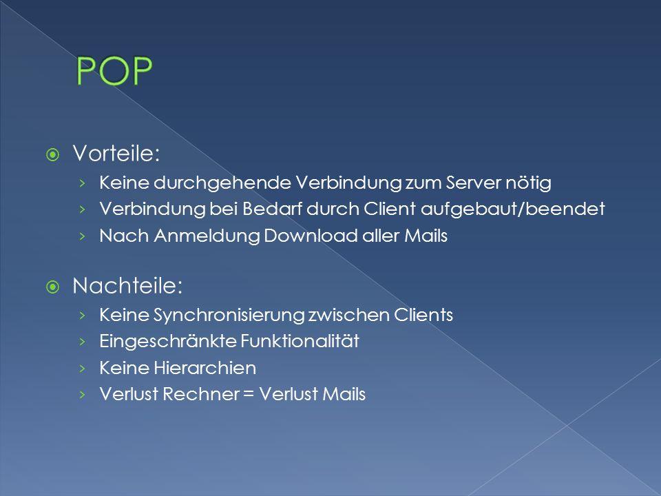  Vorteile: › Keine durchgehende Verbindung zum Server nötig › Verbindung bei Bedarf durch Client aufgebaut/beendet › Nach Anmeldung Download aller Ma