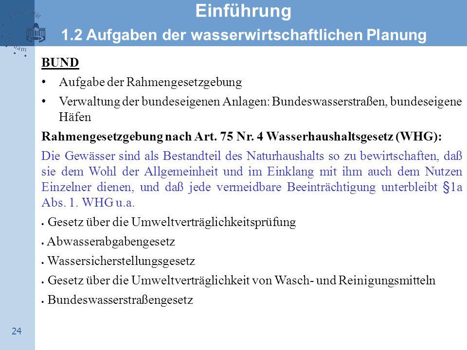 24 Einführung 1.2 Aufgaben der wasserwirtschaftlichen Planung BUND Aufgabe der Rahmengesetzgebung Verwaltung der bundeseigenen Anlagen: Bundeswasserst