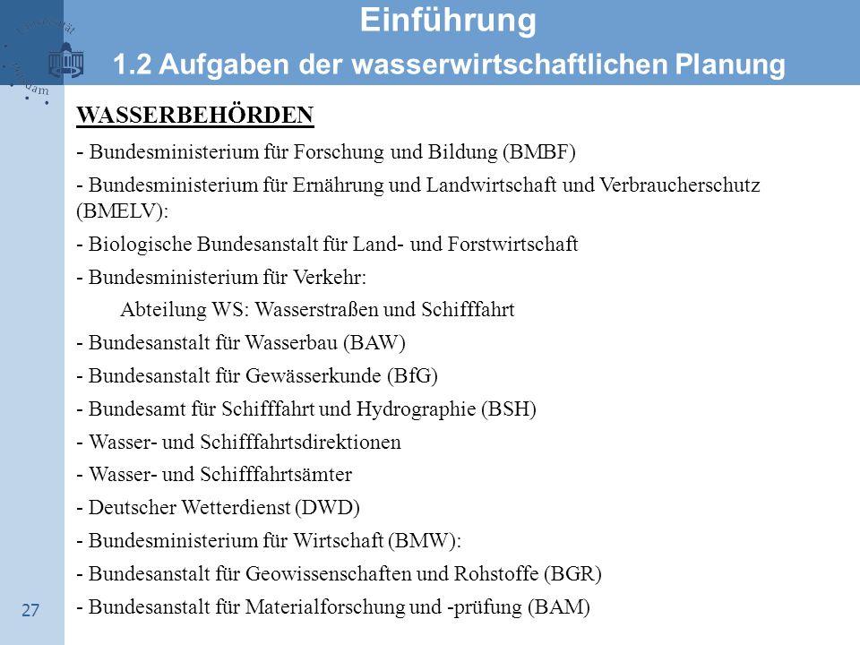 27 Einführung 1.2 Aufgaben der wasserwirtschaftlichen Planung WASSERBEHÖRDEN - Bundesministerium für Forschung und Bildung (BMBF) - Bundesministerium