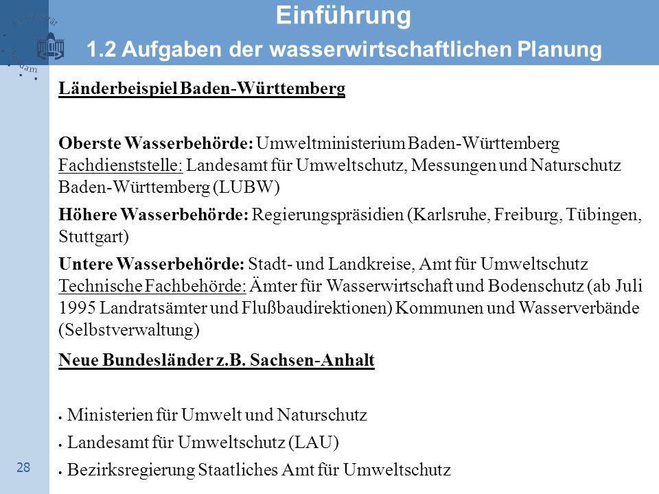 28 Einführung 1.2 Aufgaben der wasserwirtschaftlichen Planung Länderbeispiel Baden-Württemberg Oberste Wasserbehörde: Umweltministerium Baden-Württemb