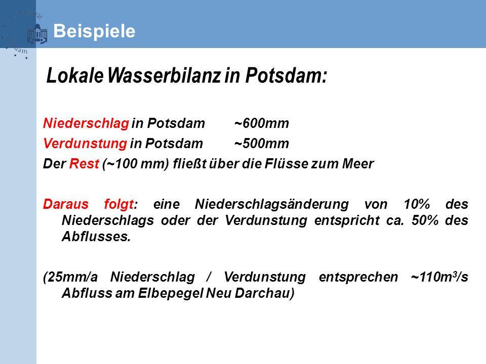 Lokale Wasserbilanz in Potsdam: Niederschlag in Potsdam~600mm Verdunstung in Potsdam~500mm Der Rest (~100 mm) fließt über die Flüsse zum Meer Daraus f