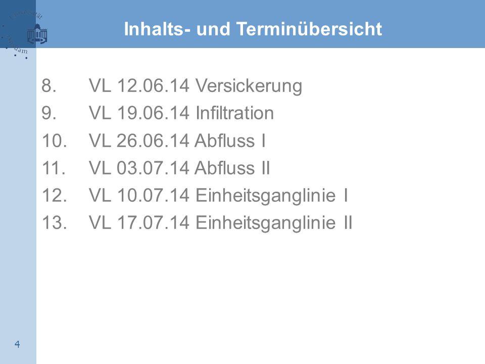 4 Inhalts- und Terminübersicht 8. VL 12.06.14 Versickerung 9. VL 19.06.14 Infiltration 10. VL 26.06.14 Abfluss I 11. VL 03.07.14 Abfluss II 12. VL 10.