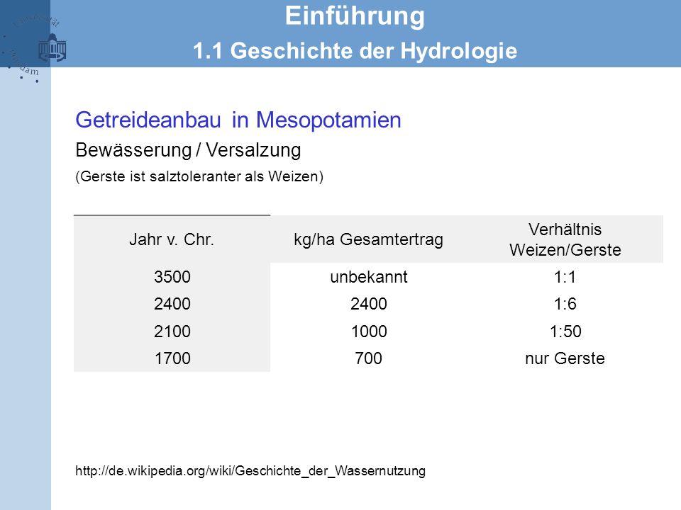 Jahr v. Chr.kg/ha Gesamtertrag Verhältnis Weizen/Gerste 3500unbekannt1:1 2400 1:6 210010001:50 1700700nur Gerste Getreideanbau in Mesopotamien Bewässe
