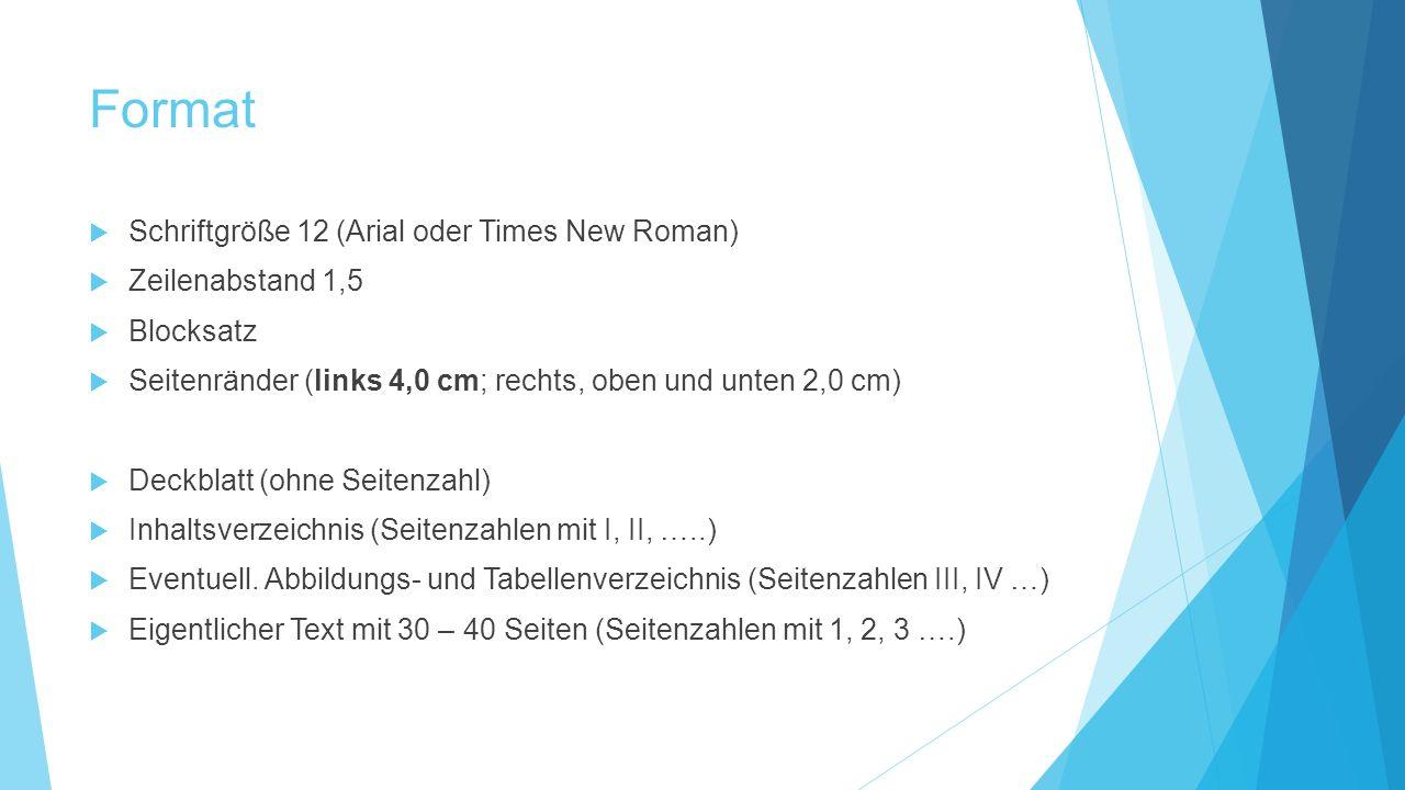 Format  Schriftgröße 12 (Arial oder Times New Roman)  Zeilenabstand 1,5  Blocksatz  Seitenränder (links 4,0 cm; rechts, oben und unten 2,0 cm)  D