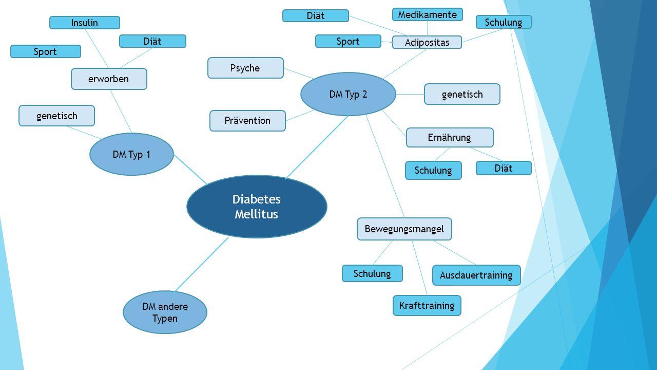 Diabetes Mellitus DM Typ 1 DM Typ 2 Adipositas Bewegungsmangel genetisch Ernährung Schulung Krafttraining Ausdauertraining Schulung Diät Sport Medikam