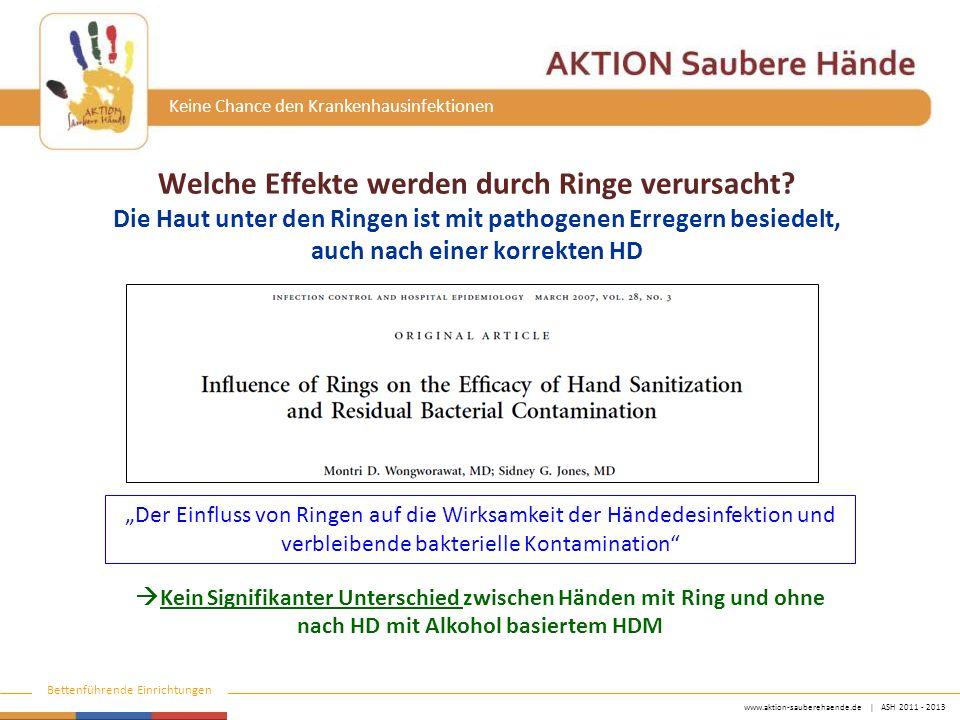 www.aktion-sauberehaende.de | ASH 2011 - 2013 Bettenführende Einrichtungen Keine Chance den Krankenhausinfektionen Welche Effekte werden durch Ringe verursacht.