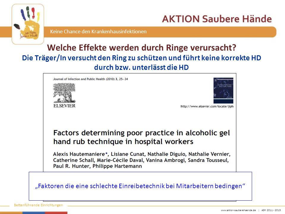 www.aktion-sauberehaende.de   ASH 2011 - 2013 Bettenführende Einrichtungen Keine Chance den Krankenhausinfektionen Welche Effekte werden durch Ringe v