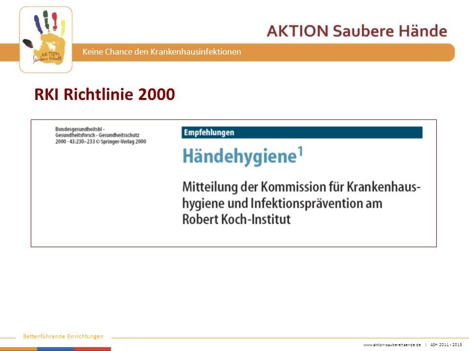 """www.aktion-sauberehaende.de   ASH 2011 - 2013 Bettenführende Einrichtungen Keine Chance den Krankenhausinfektionen Richtlinie zur HD des RKI 2000 """"Als Voraussetzung für die Händehygiene dürfen in Arbeitsbereichen mit erhöhter Infektionsgefährdung an Händen und Unterarmen keine Schmuckstücke, einschließlich Uhren und Eheringe, getragen werden [7] (Kategorie IV). [7] VBG 103 (1994) Unfallverhütungsvorschrift Gesundheitsdienst v."""