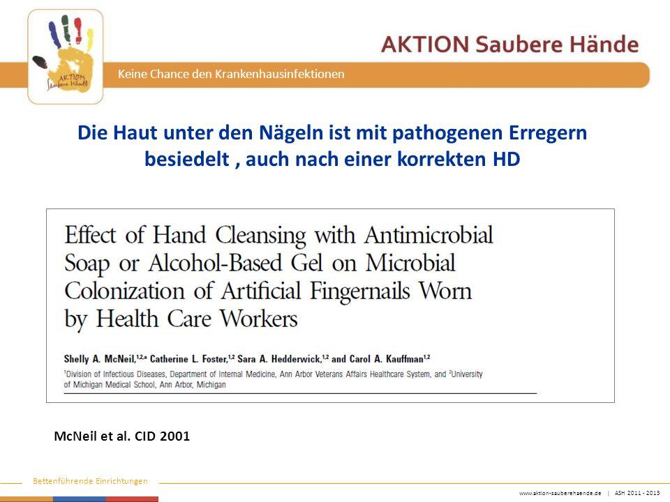 www.aktion-sauberehaende.de   ASH 2011 - 2013 Bettenführende Einrichtungen Keine Chance den Krankenhausinfektionen McNeil et al. CID 2001 Die Haut unt