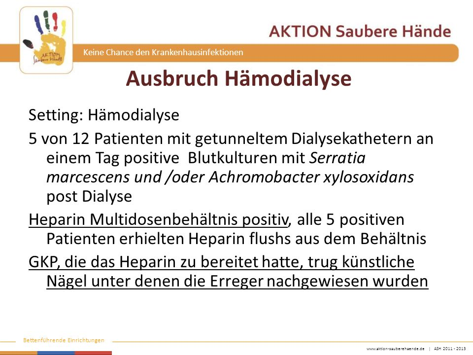 www.aktion-sauberehaende.de   ASH 2011 - 2013 Bettenführende Einrichtungen Keine Chance den Krankenhausinfektionen Ausbruch Hämodialyse Setting: Hämod