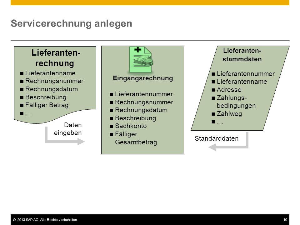 ©2013 SAP AG. Alle Rechte vorbehalten.10 Servicerechnung anlegen Lieferanten- stammdaten Lieferanten- rechnung Standarddaten Eingangsrechnung Lieferan