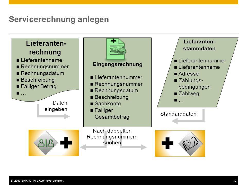 ©2013 SAP AG. Alle Rechte vorbehalten.12 Servicerechnung anlegen Lieferanten- stammdaten Lieferanten- rechnung Standarddaten Eingangsrechnung Lieferan