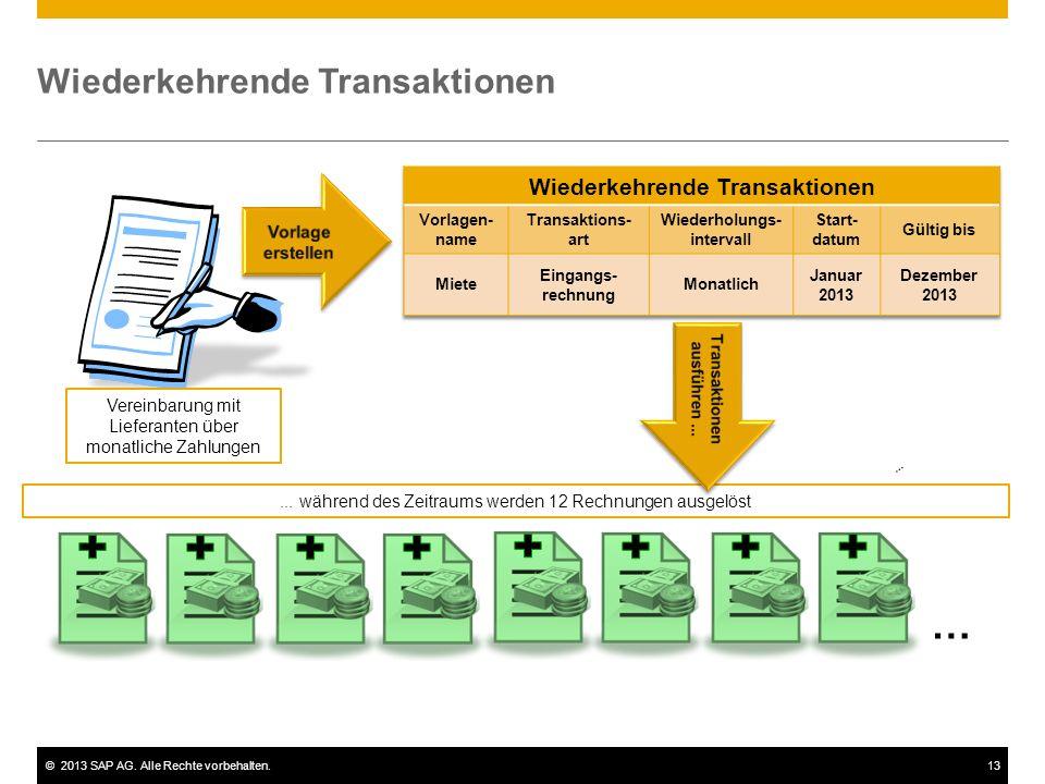 ©2013 SAP AG. Alle Rechte vorbehalten.13 Wiederkehrende Transaktionen Vereinbarung mit Lieferanten über monatliche Zahlungen... während des Zeitraums