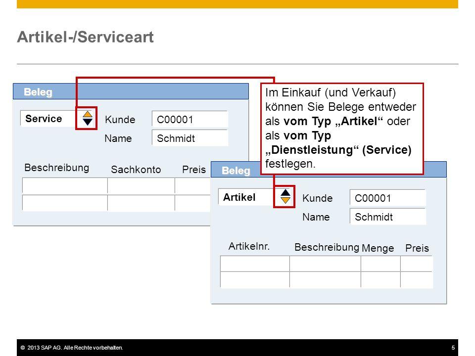 ©2013 SAP AG. Alle Rechte vorbehalten.5 Artikel-/Serviceart Service Kunde Beschreibung Beleg Sachkonto Preis C00001 Name Schmidt Artikel Kunde Artikel