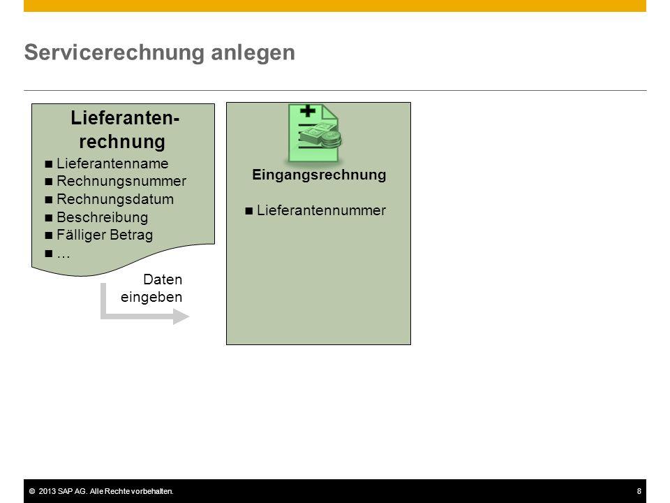 ©2013 SAP AG. Alle Rechte vorbehalten.8 Servicerechnung anlegen Lieferanten- rechnung Daten eingeben Eingangsrechnung Lieferantennummer Lieferantennam