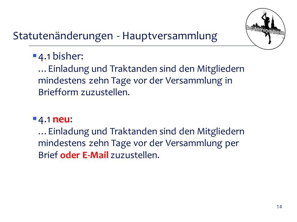Statutenänderungen - Hauptversammlung  4.1 bisher: …Einladung und Traktanden sind den Mitgliedern mindestens zehn Tage vor der Versammlung in Briefform zuzustellen.