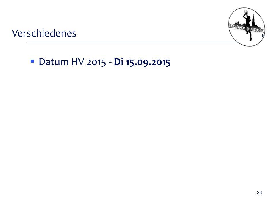 Verschiedenes  Datum HV 2015 - Di 15.09.2015 30