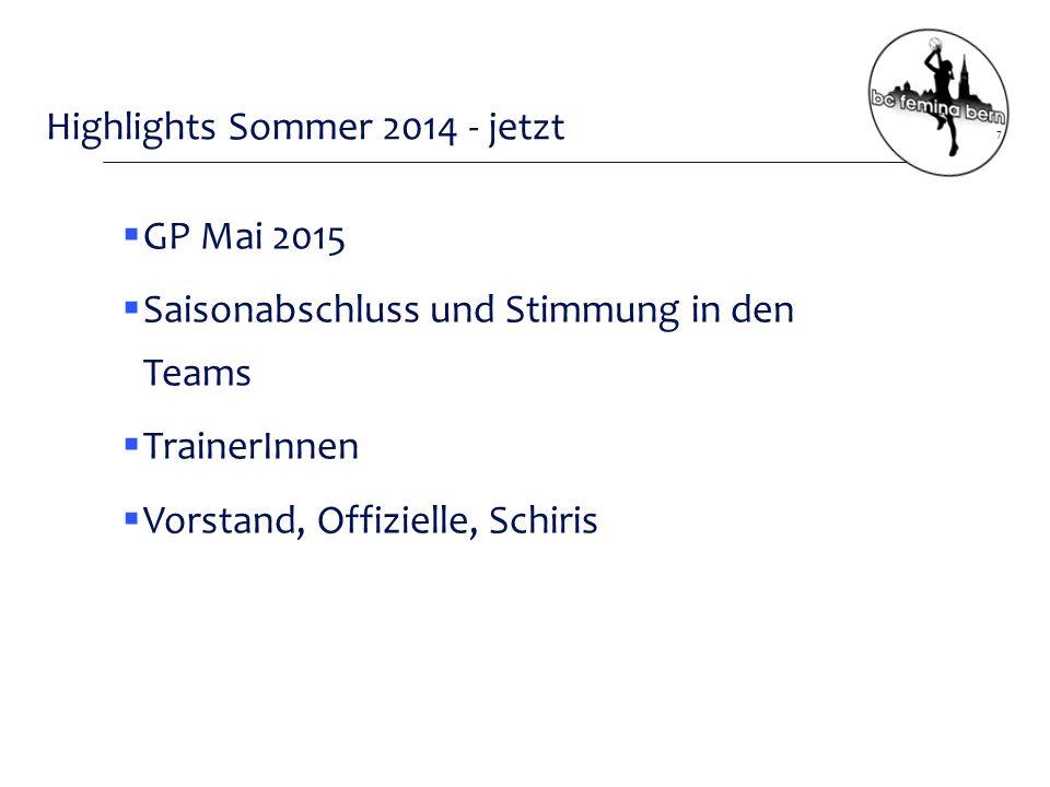 Highlights Sommer 2014 - jetzt 7  GP Mai 2015  Saisonabschluss und Stimmung in den Teams  TrainerInnen  Vorstand, Offizielle, Schiris